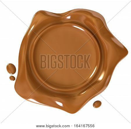 Wax seal. Conceptual illustration. Isolated on white background. 3D illustration. 3D rendering