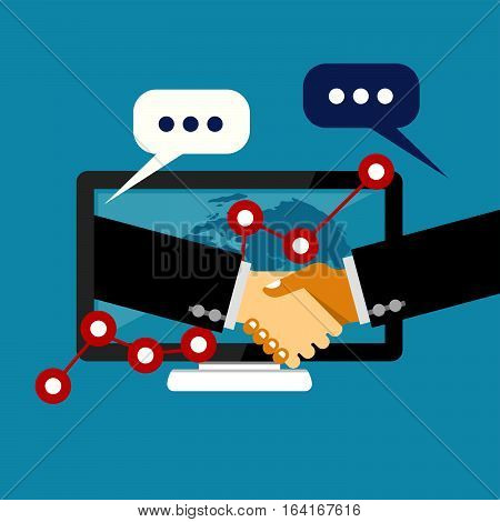 Online business deal. Business deal handshake. Cooperation or partnership.
