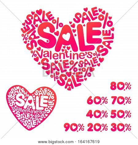 Vector picture with hearts. Illustration of love, romantic theme, the picture for the poster showcases selling Valentine's Day, a special offer, a percentage of the sale.