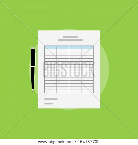 Spreadsheet icon flat design. Spreadsheet documents symbol