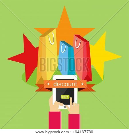 Illustration of buying and shopping online. E-commerce.