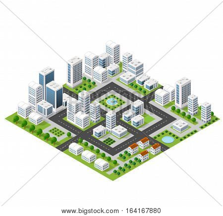 Flat isometric map landscape city building skyscraper picture of the nature parks cafe landmarks. Vector 3d top view block dormitory area
