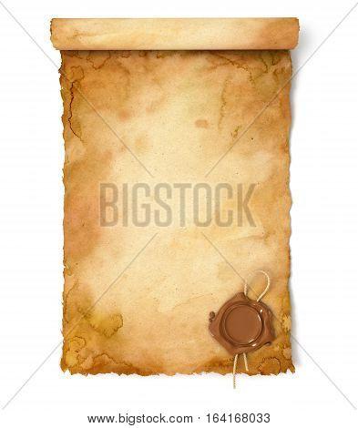 Old paper scroll with wax seal. Conceptual illustration. Isolated on white background. 3D illustration. 3D rendering