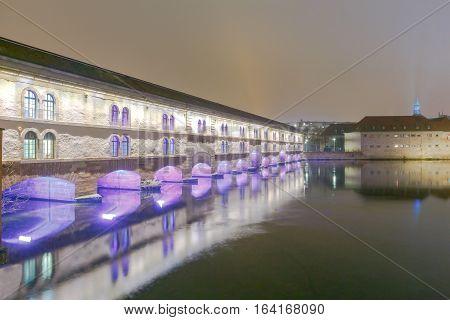 Vauban Dam on the river in the quarter Petite France. Strasbourg. Alsace.