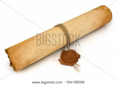 Old Scroll paper with wax seal. Conceptual illustration. Isolated on white background. 3D illustration. 3D rendering