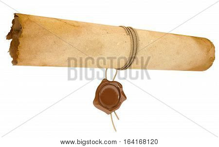 Ancient scroll with wax seal. Old paper sheet. Conceptual illustration. Isolated on white background. 3D illustration. 3D rendering
