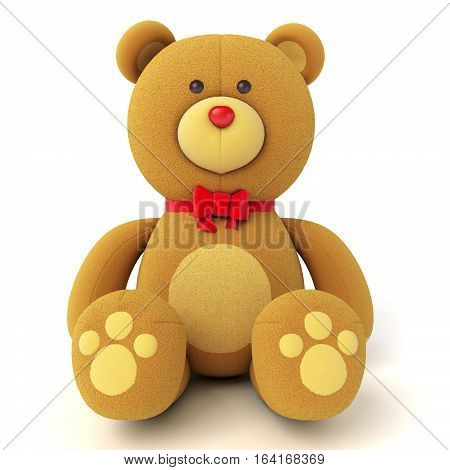 Brown teddy bear isolated on white. Isolated on white background. . 3D illustration.