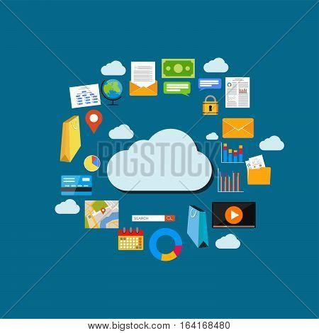 Cloud computing background. Data storage network technology. Multimedia content web sites hosting. Internet content concept illustration.