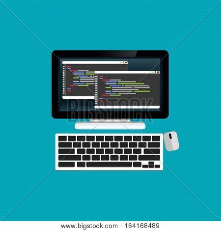Programming or coding on computer website development web design.