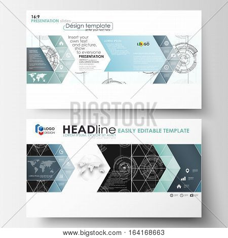Business templates in HD format for presentation slides. Easy editable layouts. High tech design, connecting system. Science and technology concept. Futuristic abstract vector background