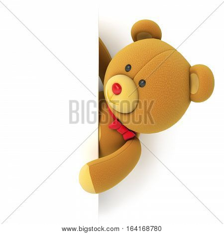 Toy teddy bear with blank board. Hiding behind the corner. Isolated on white background. 3D illustration. 3D rendering