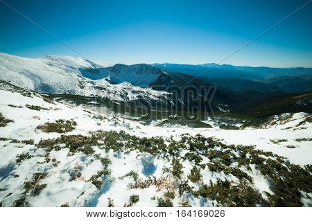 Winter in the mountains national park. Snowy and sunny