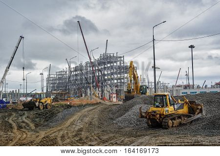 Tobolsk, Russia - July 15. 2016: Sibur company. Construction site of plant on processing of hydrocarbonic raw materials
