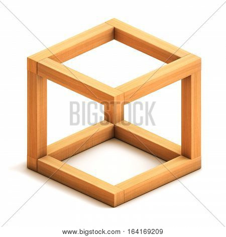 Optical illusion. Impossible geometrical figure. Wooden box. Isolated on white background. 3D illustration. 3D rendering