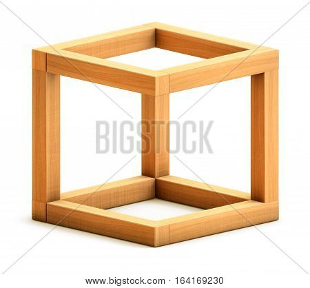 Optical illusion. Impossible geometrical figure. Wooden box. 3D illustration. 3D rendering