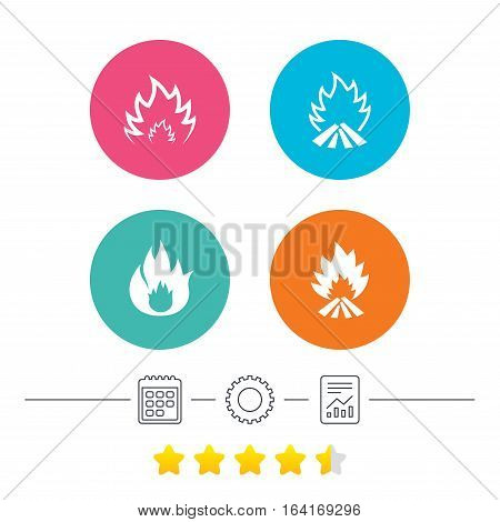 Fire flame icons. Heat symbols. Inflammable signs. Calendar, cogwheel and report linear icons. Star vote ranking. Vector