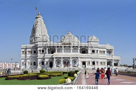 Vrindavan, India - October 13, 2016: Prem Mandir - The Temple of Divine Love is a divine monument, gifted by the Rasik saint Jagadguru Shri Kripalu Ji Maharaj to the holy city of Vrindavan.