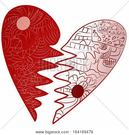 Red Valentines Day sign, vector symbol Icon broken heart drawn Zentangle style
