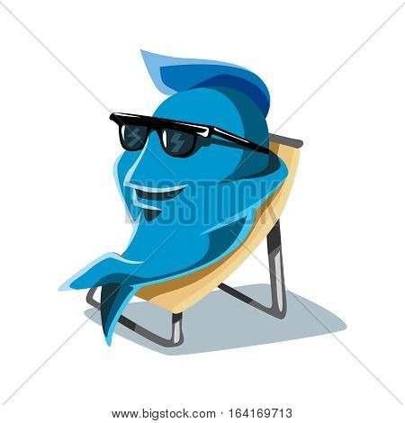 Cool Funny Cute Dude Cartoon Character FIsh Taking Sunbath on Beach Chair