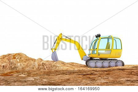 Cartoon excavator digging earth isolated on white side view 3d illustration