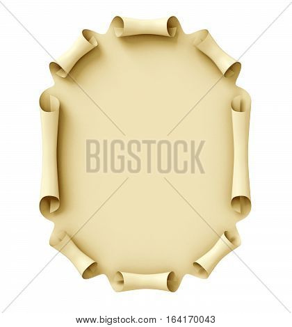 Old paper scroll. Conceptual illustration. Isolated on white background. 3D illustration. 3D rendering