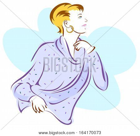 Stylized image of a woman wearing a soft, flowing sweater