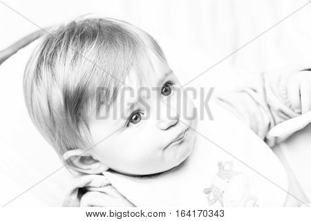 Infant Girl Black And White Candid Portrait