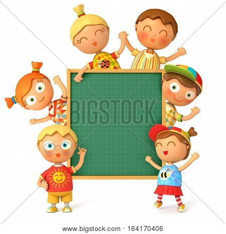 Group of funny school stands at the school board. Blackboard ready for your message. Back to School. Isolated on white background. 3D illustration. 3D rendering