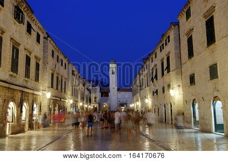 Dubrovnik old city stradun or placa main street by night, South Dalmatia region, Croatia, hdr