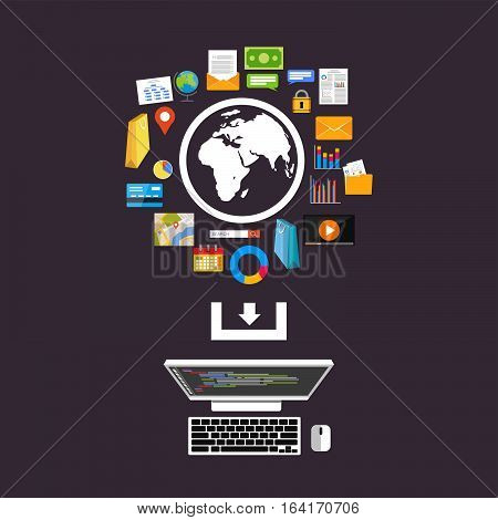 Download from the internet concept illustration. Internet services. Internet content.