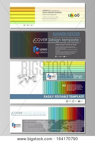 Social media and email headers set, modern banners. Business templates. Easy editable abstract design template, flat layout in popular sizes, vector illustration. Bright color rectangles, colorful design with overlapping geometric rectangular shapes formi