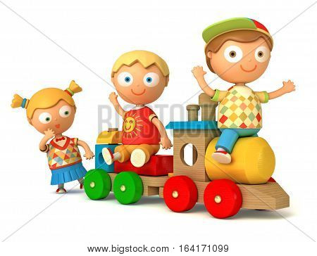 Funny puppet schoolboy and schoolgirl play toy train. Isolated on white background. 3D illustration.