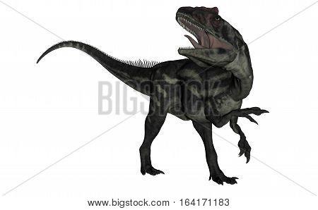 Allosaurus dinosaur roaring isolated in white background - 3D render