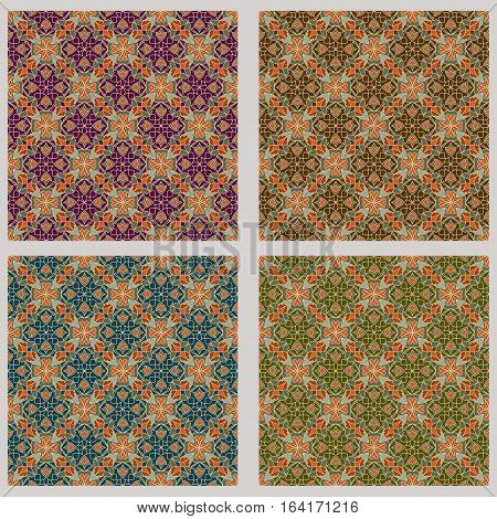 Art Deco Vector Background Set In Different Color Variant. Fine Geometric Diagonal Stripped Ornament