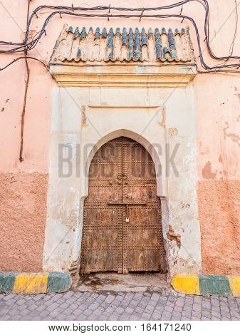 Old wooden door in Marrakech - Morocco