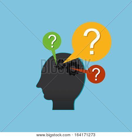 Human head thinking. Man head with gears.