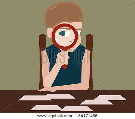 boy with magnifying glass - vector cartoon illustration of young explorer