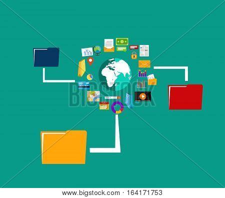 File sharing. Data Distribution. Content management. File transfer concept.
