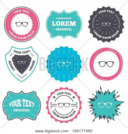 Label and badge templates. Retro glasses sign icon. Eyeglass frame symbol. Retro style banners, emblems. Vector