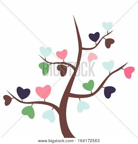 Love tree with heart leaves vector illustration. Romance decorationbranch abstract love tree. Wedding love tree beauty floral plant. Hearts leaf eco concept or party invitation.