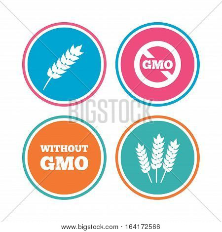 Agricultural icons. Gluten free or No gluten signs. Without Genetically modified food symbols. Colored circle buttons. Vector