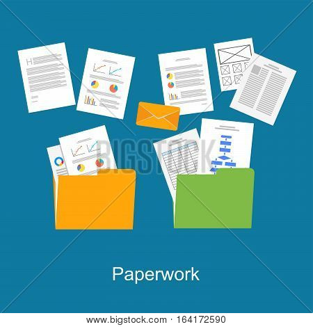 Paperwork documents symbol. Business reports. Messy documents