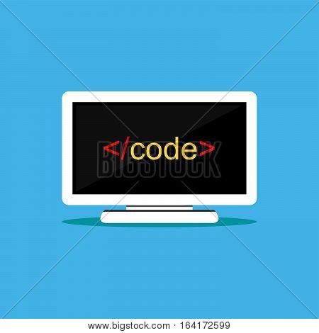 Computer code on monitor. Script code symbol