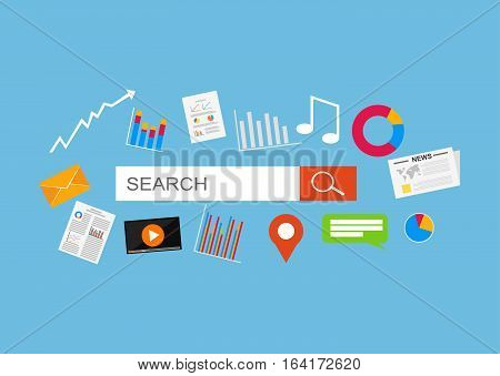 Searching contents in internet. Search engine optimization and web analytics elements.