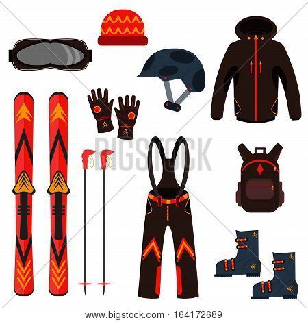 Skiing equipment vector icons. Set skis and ski poles. Winter equipment icons family vacation, activity or travel equipment. Winter sport mountain cold recreation.