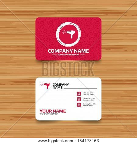 Business card template with texture. Hairdryer sign icon. Hair drying symbol. Blowing hot air. Turn on. Phone, web and location icons. Visiting card  Vector
