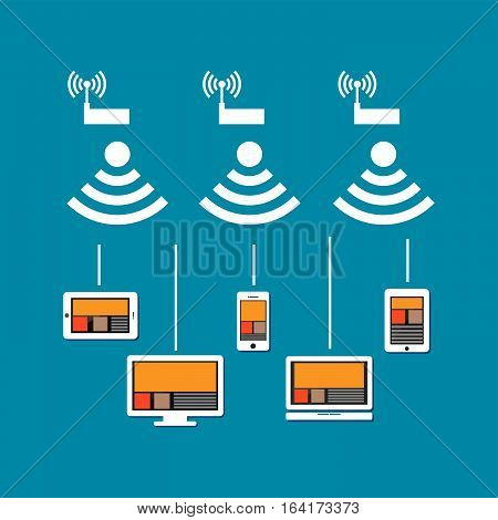 Wireless network connection concept. Wireless communication on devices. Devices connect to cloud internet using wireless signal.