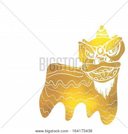Traditional Chinese lion dance festival background  gold