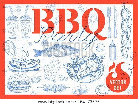 Set BBQ party Barbecue elements food, lemon, sausages, fish, seafood, drinks, knife, onion wings, tomatoes vegetables, fire Hand drawn vector illustration