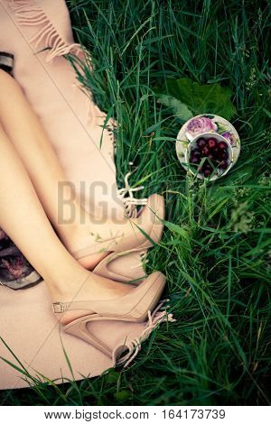 Beautiful legs of young woman wearing high heel shoes. Picnic. Green grass.